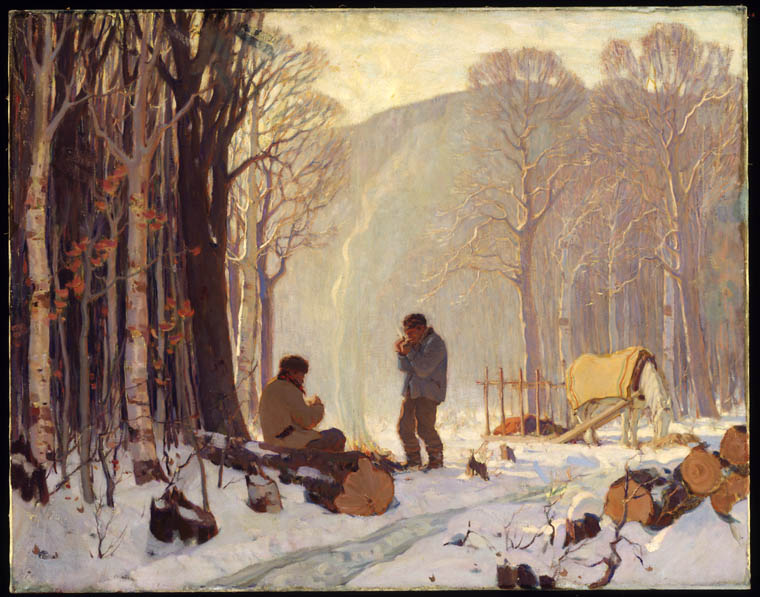 Painting of a Baie St. Paul in the winter